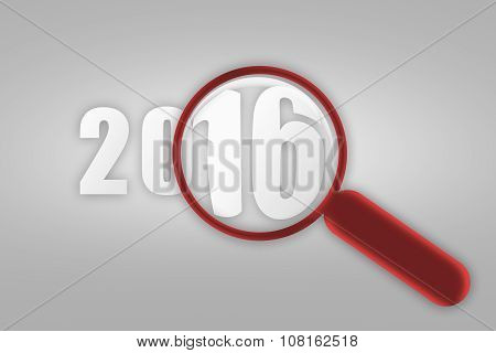 Year 2016 And Red Magnifying Glass