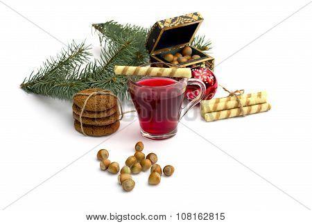 Cup Of Tea, Casket, Fir-tree Branch, Cookies And Nutlets