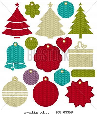 Vintage Christmas Labels With Pattern Of Stitch, Vector