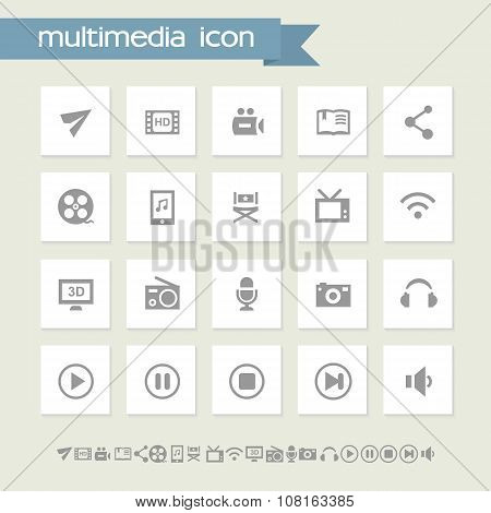 Multimedia icon set. Simple flat buttons