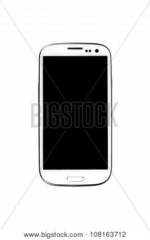 White smartphone isolated on white background.
