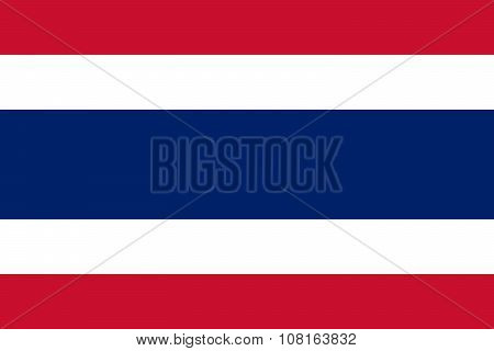 National Flag Of Kingdom Of Thailand (siam) - Official Colors And Proportions
