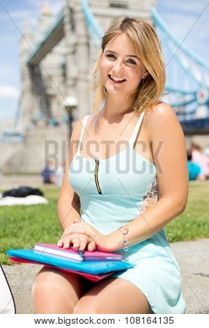 girl by tower bridge