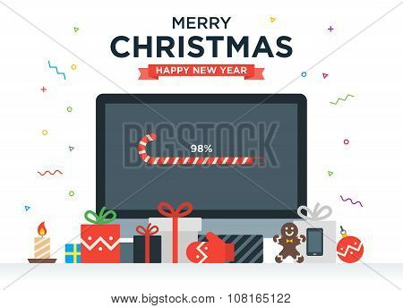 Geek Happy New Year and Christmas Card with abstract loading bar on Desktop computer, Gifts, candy,
