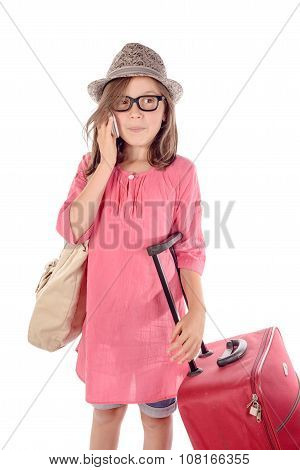 Girl With A Phone With A Red Suitcase On White Background