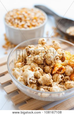 A Bowl Of Popcorn On A Wooden Table, Caramel Popcorn