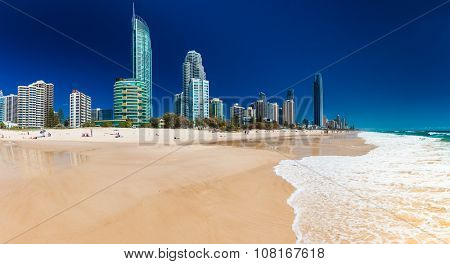 SURFERS PARADISE, AUS - OCT 03 2015 Skyline and a beach of Surfers Paradise, Gold Coast. It one of Australia's iconic coastal tourist destinations.