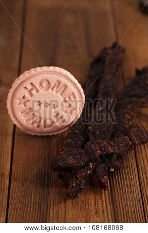jerky beef - homemade dried cured spiced meat