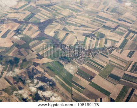 patchwork of farms and village in Alsace Lorraine, France