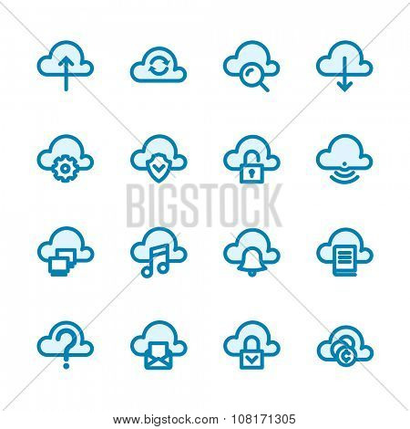 Business Fat Line Icon set for web and mobile. Modern minimalistic flat design elements of cloud computing and wireless technology
