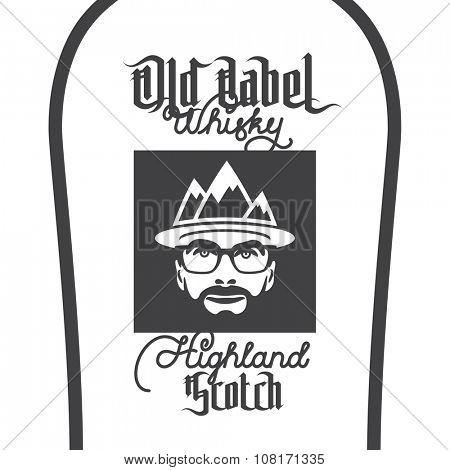 Old label whisky, highland scotch label with beard men portrait with mountain hat and glasses