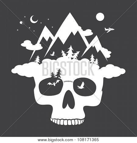 Human skull with mountain cloudly hat