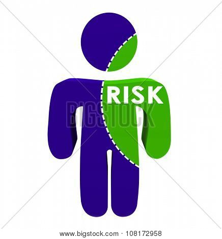 Risk word on 3d person with dotted line to illustrate or represent amount of danger or likelihood of injury or damage