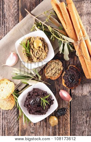 canape with tapenade and breadstick