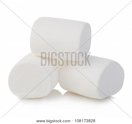 Marshmallows close-up isolated on a white background.