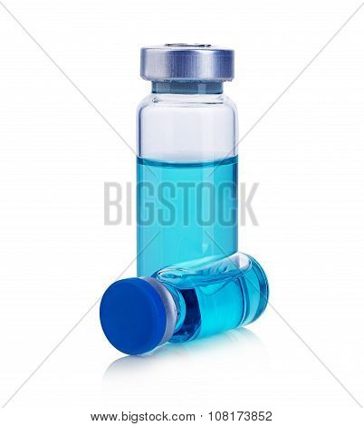 Vials With Blue Solution Isolated On A White Background.
