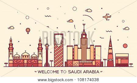 Skyline Saudi Arabia silhouette linear style