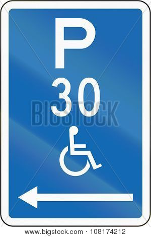 New Zealand Road Sign - Parking Zone Reserved For Disabled Persons With Time Limit, On The Left Of T