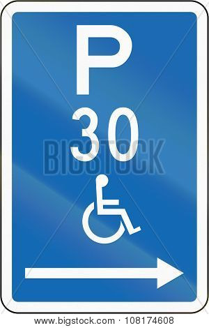 New Zealand Road Sign - Parking Zone Reserved For Disabled Persons With Time Limit, On The Right Of