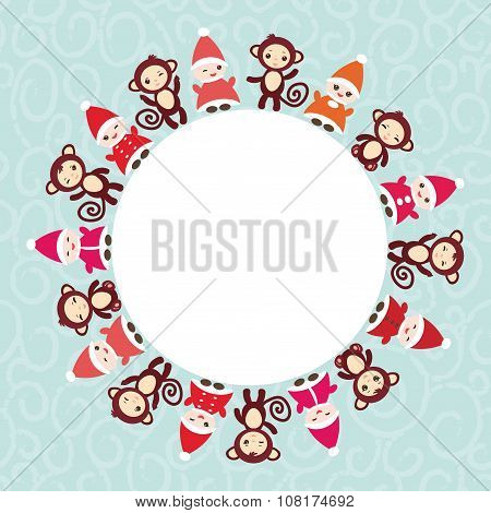 2016 Happy New Year card for your text round frame. Funny gnomes in red hats brown monkey on blue ba