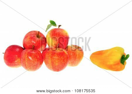 Ripe Red Apples On A White Background