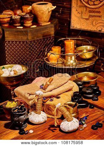 Luxury ayurvedic spa massage still life in Indian spa salon.
