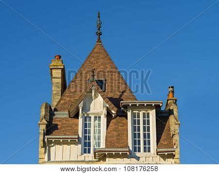 Tiled roof of a typical Norman house, Normandy, France