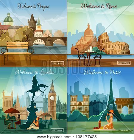 Touristic cities 4 flat icons composition