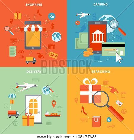 M-commerce And Shopping Icons Set