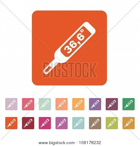 The medical thermometer icon. Healthy and diagnostic, doctor, medicine symbol. Flat