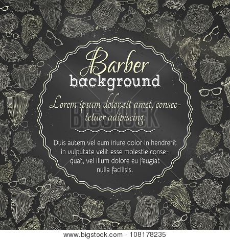 Chalk Vector Background Of Fashion Man Beards And Eyeglasses.
