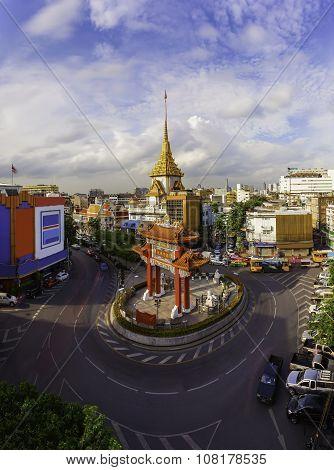 The Gateway (Odeon Circle) and Temple Landmark of Chinatown (Yaowarat) Bangkok Thailand.