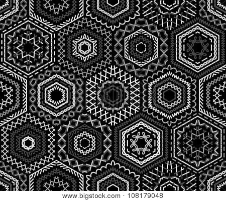 Seamless Black And White Embroidery Pattern.