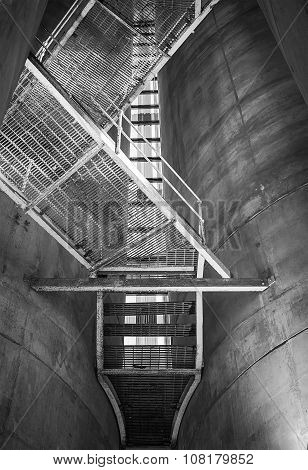 Industrial staircase going up to the tower