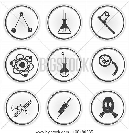 9 science circle flat icons