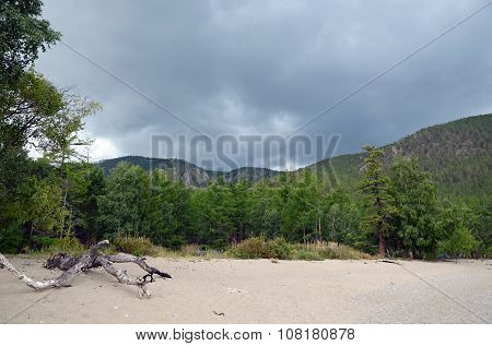 Sandy Shore Of The Sukhaya - Dry Cove Before Thunderstorm. Lake Baikal