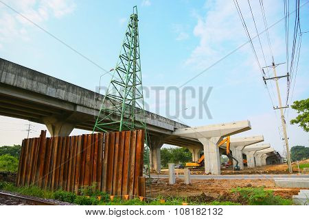 The Highway Under Construction, Concrete bridge pier with the visible traces of the framework in the bridge construction site, Construction background.