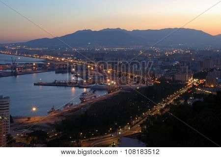 Malaga port at dusk.