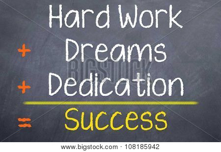 Hard Work + Dreams + Dedication = Success
