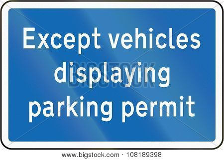 New Zealand Road Sign - Vehicles With Parking Permit Exempt