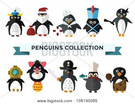 Penguin set vector illustration. Cartoon funny penguins different situations. Penguin clown, pirate, christmas santa, captain, sailor, cook.Cartoon penguin vector set illustration.Penguin vector birds