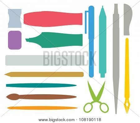 Flat stationery drawing tools, pen set. Paintbrushes, felt-tip, pencil and marker highlighter collection. Pens vector set. School pens tools. Artistic tools brushes. Office tools