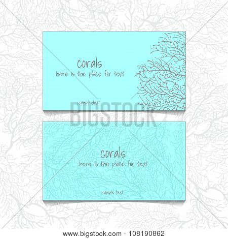 Coral blue design horizontal business card