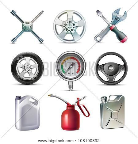 Car service tools icon set