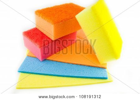Sponge Scouring Pads On An Isolated White Background