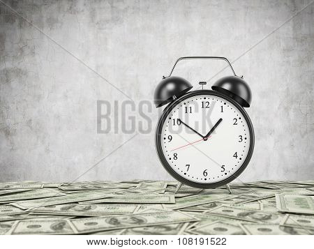 An Alarm Clock Is Settled On The Surface Which Is Covered By Dollar Notes. Concrete Background. 3D R