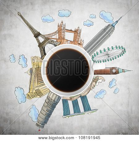 Top View Of A Coffee Cup And Drawn Colourful Sketches Of The Most Famous Cities In The World. The Co