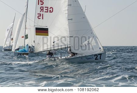 Haifa, Israel - October 16, 2015 : World Championship 2015, sailing schooners model 470, on October