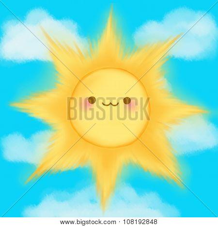Cute cartoon smiling sun sky kawaii anime manga