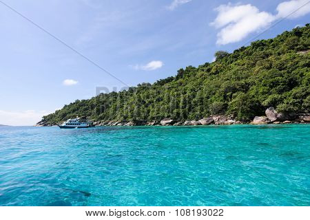 Beautiful Tropical Beach With Sea View, Clean Water At Similan Islands In Thailand.